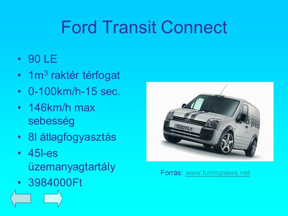 Ford Transit Connect 90 LE 1m 3 raktér térfogat 0-100km/h-15 sec. 146km/h max sebesség 8l átlagfogyasztás 45l-es üzemanyagtartály 3984000Ft Forrás: ww