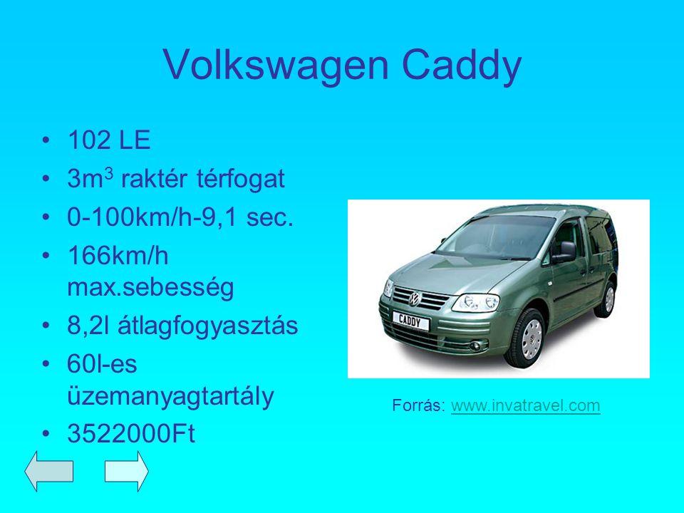 Volkswagen Caddy 102 LE 3m 3 raktér térfogat 0-100km/h-9,1 sec. 166km/h max.sebesség 8,2l átlagfogyasztás 60l-es üzemanyagtartály 3522000Ft Forrás: ww