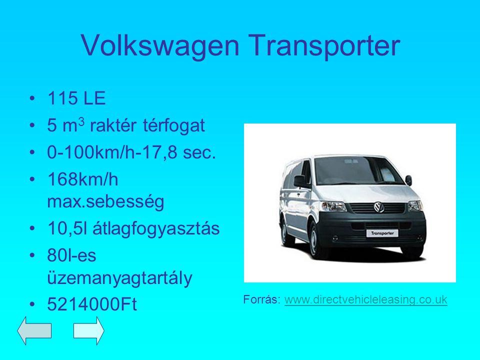 Volkswagen Transporter 115 LE 5 m 3 raktér térfogat 0-100km/h-17,8 sec. 168km/h max.sebesség 10,5l átlagfogyasztás 80l-es üzemanyagtartály 5214000Ft F