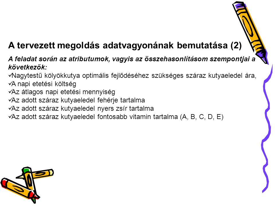 A tervezett megoldás adatvagyonának bemutatása (2) A feladat során az atributumok, vagyis az összehasonlításom szempontjai a következők: Nagytestű köl