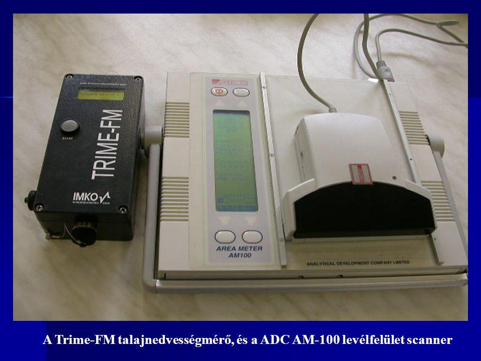 A Trime-FM talajnedvességmérő, és a ADC AM-100 levélfelület scanner