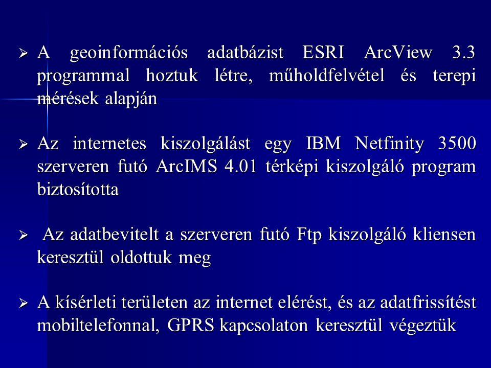  A geoinformációs adatbázist ESRI ArcView 3.3 programmal hoztuk létre, műholdfelvétel és terepi mérések alapján  Az internetes kiszolgálást egy IBM Netfinity 3500 szerveren futó ArcIMS 4.01 térképi kiszolgáló program biztosította  Az adatbevitelt a szerveren futó Ftp kiszolgáló kliensen keresztül oldottuk meg  A kísérleti területen az internet elérést, és az adatfrissítést mobiltelefonnal, GPRS kapcsolaton keresztül végeztük