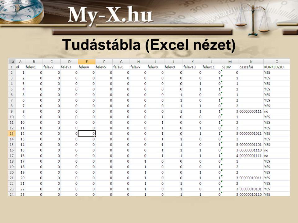 Tudástábla (Excel nézet)