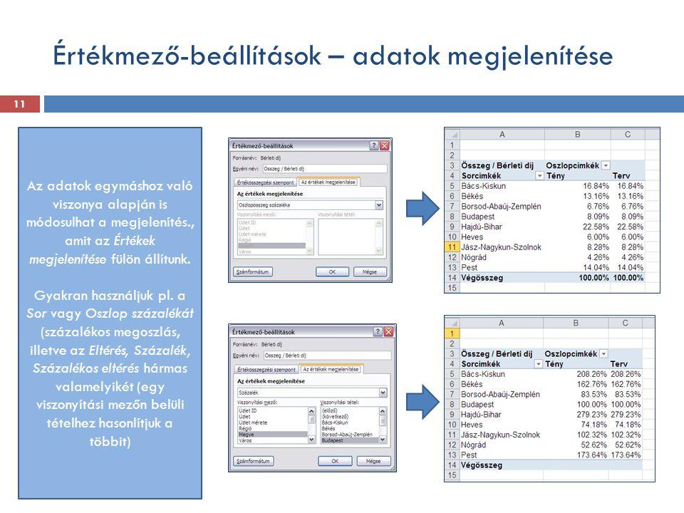 Értékmező-beállítások – adatok megjelenítése Az adatok egymáshoz való viszonya alapján is módosulhat a megjelenítés., amit az Értékek megjelenítése fü