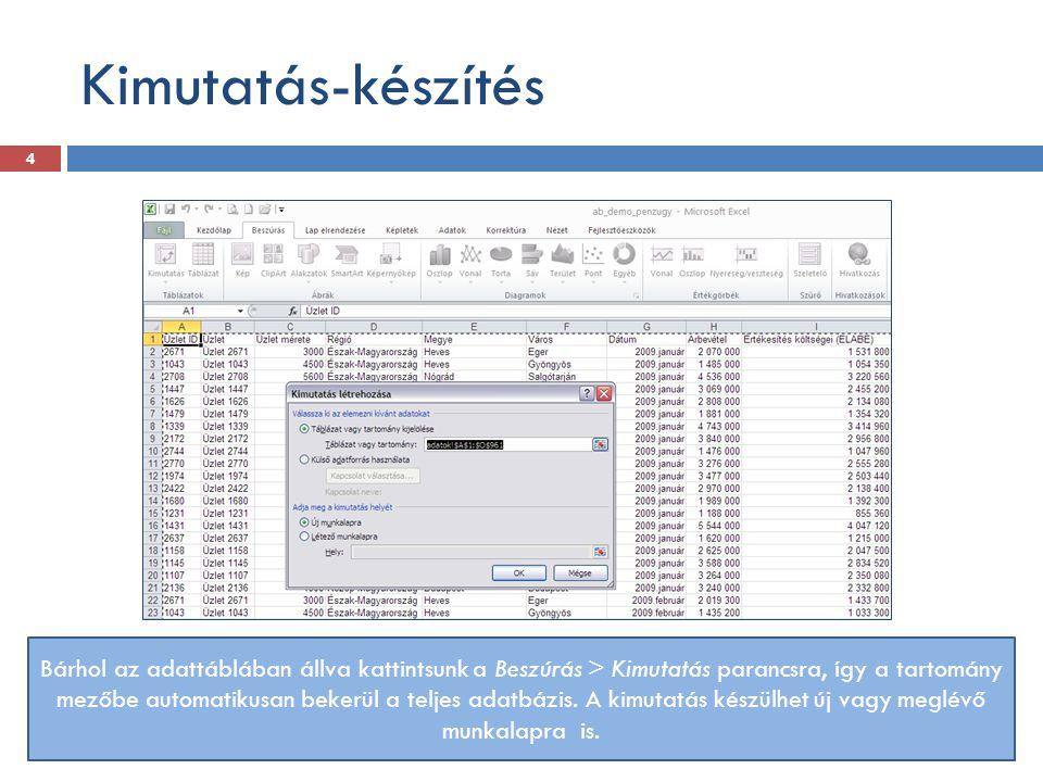 Kimutatás-készítés Bárhol az adattáblában állva kattintsunk a Beszúrás > Kimutatás parancsra, így a tartomány mezőbe automatikusan bekerül a teljes ad