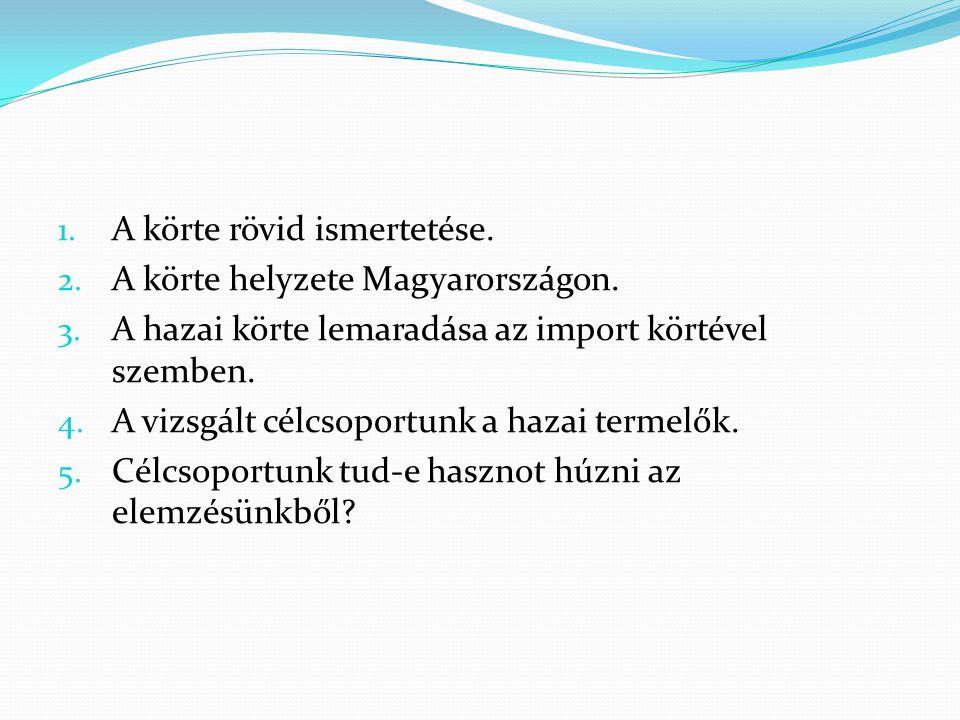1. A körte rövid ismertetése. 2. A körte helyzete Magyarországon.