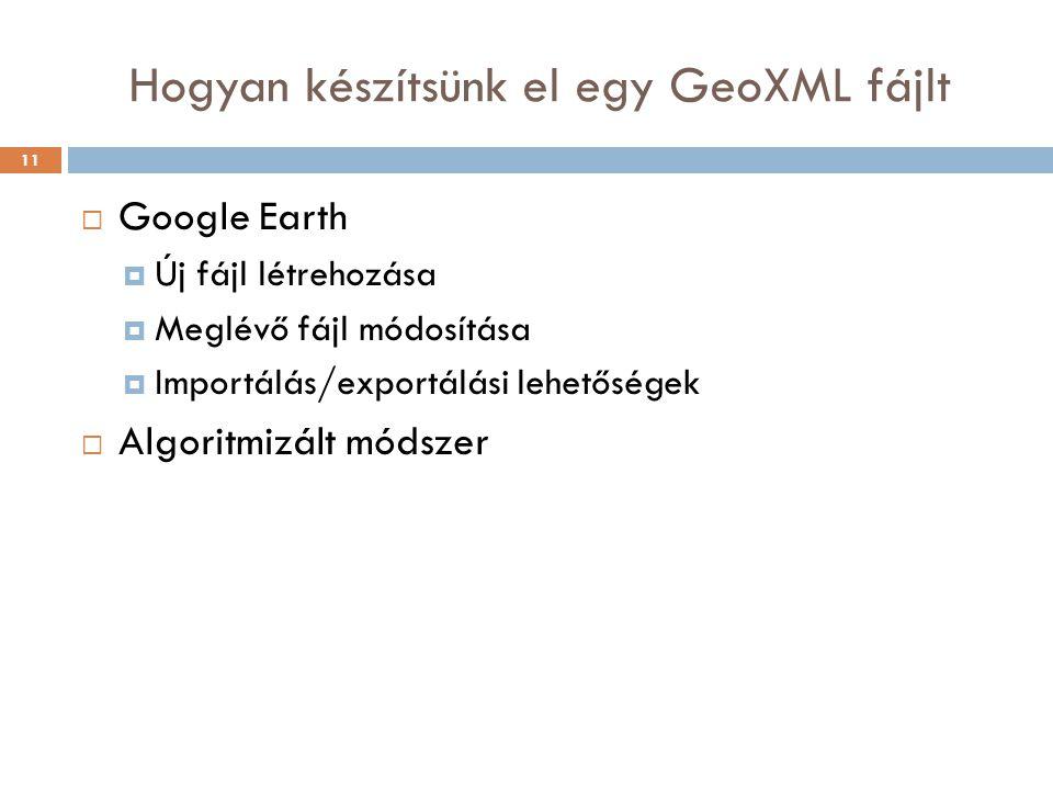 Hogyan készítsünk el egy GeoXML fájlt  Google Earth  Új fájl létrehozása  Meglévő fájl módosítása  Importálás/exportálási lehetőségek  Algoritmiz