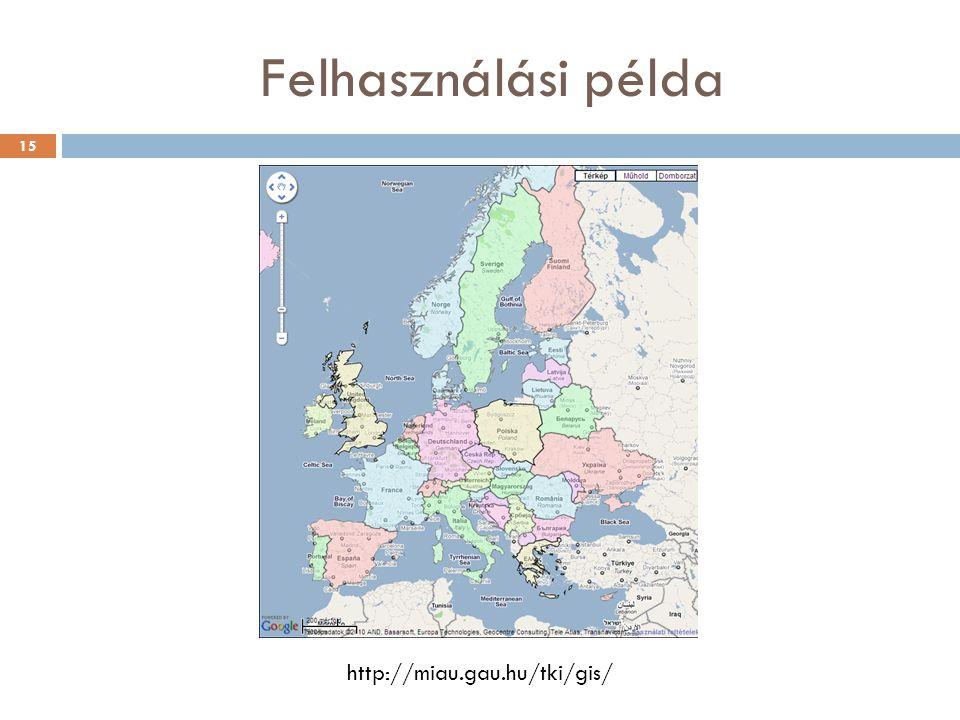 Felhasználási példa http://miau.gau.hu/tki/gis/ 15