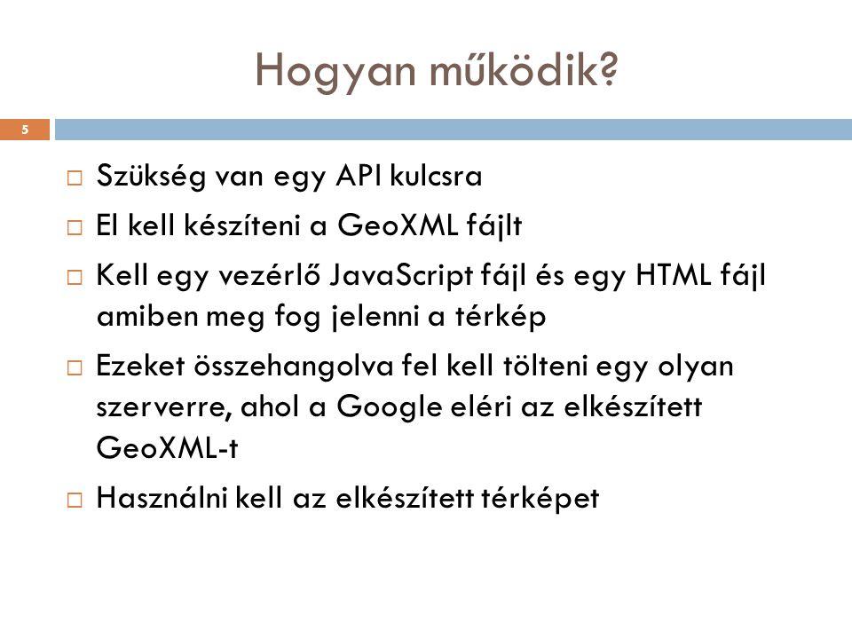 Hogyan működik?  Szükség van egy API kulcsra  El kell készíteni a GeoXML fájlt  Kell egy vezérlő JavaScript fájl és egy HTML fájl amiben meg fog je