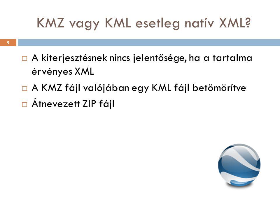 KMZ vagy KML esetleg natív XML?  A kiterjesztésnek nincs jelentősége, ha a tartalma érvényes XML  A KMZ fájl valójában egy KML fájl betömörítve  Át