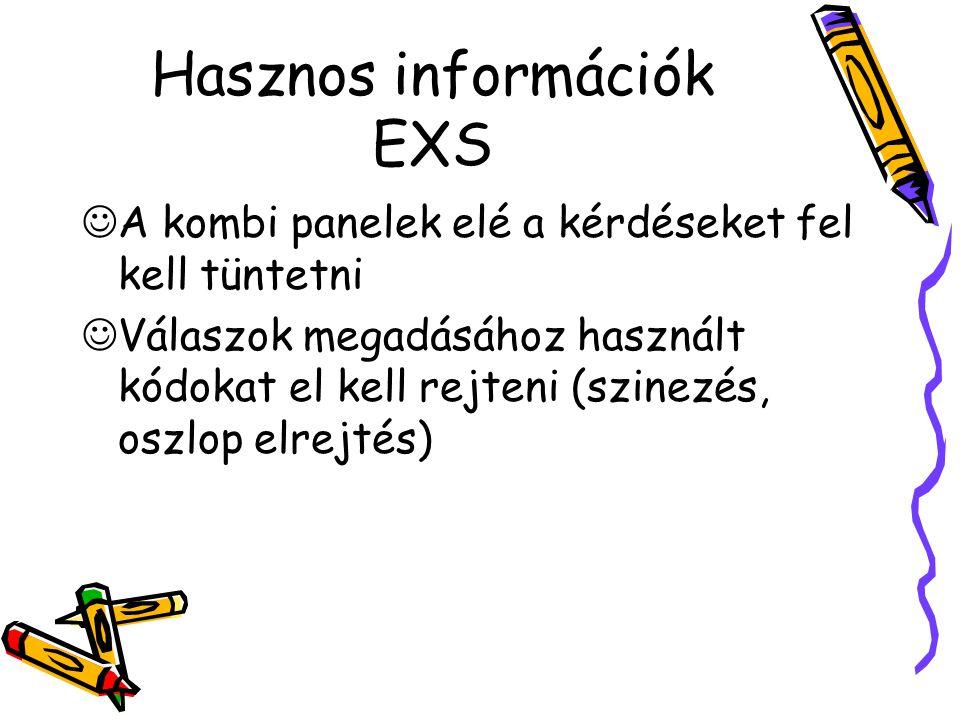 Hasznos információk EXS A kombi panelek elé a kérdéseket fel kell tüntetni Válaszok megadásához használt kódokat el kell rejteni (szinezés, oszlop elrejtés)