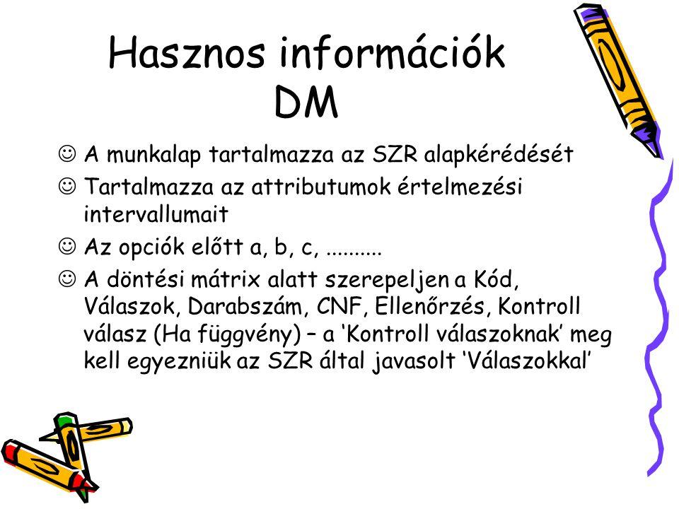 Hasznos információk DM A munkalap tartalmazza az SZR alapkérédését Tartalmazza az attributumok értelmezési intervallumait Az opciók előtt a, b, c,..........