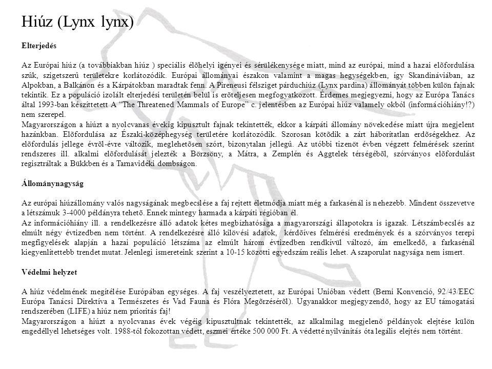 Hiúz (Lynx lynx) Elterjedés Az Európai hiúz (a továbbiakban hiúz ) speciális élõhelyi igényei és sérülékenysége miatt, mind az európai, mind a hazai elõfordulása szûk, szigetszerû területekre korlátozódik.