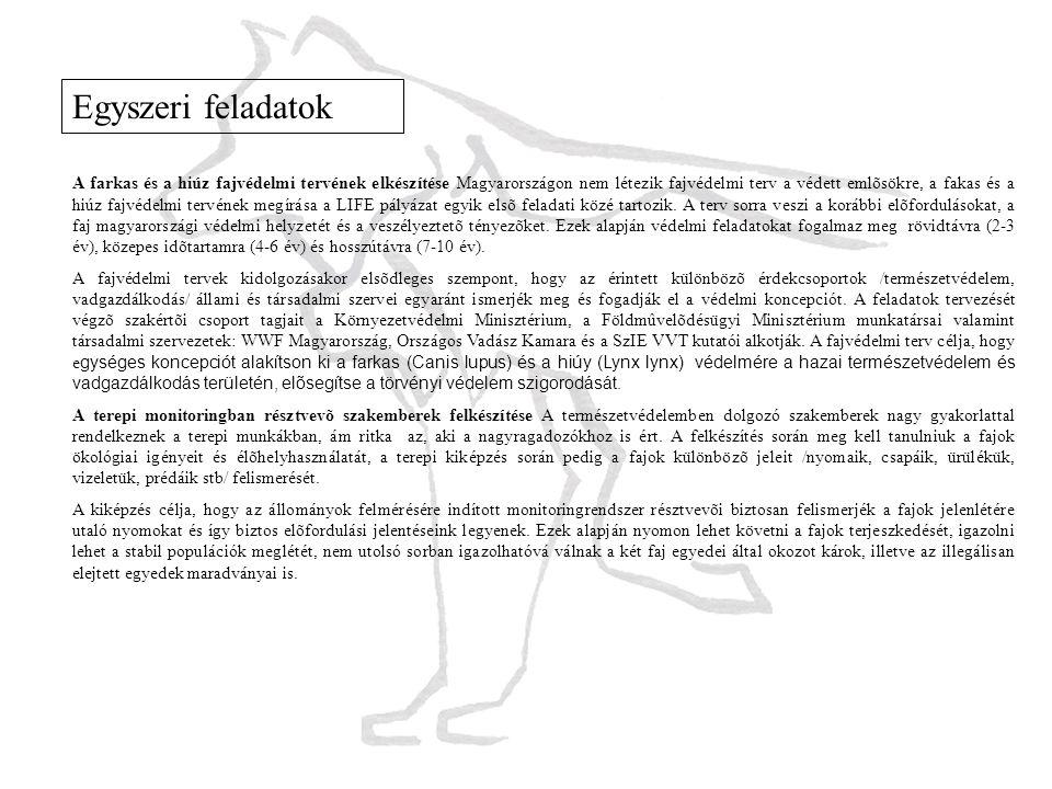 Egyszeri feladatok A farkas és a hiúz fajvédelmi tervének elkészítése Magyarországon nem létezik fajvédelmi terv a védett emlõsökre, a fakas és a hiúz