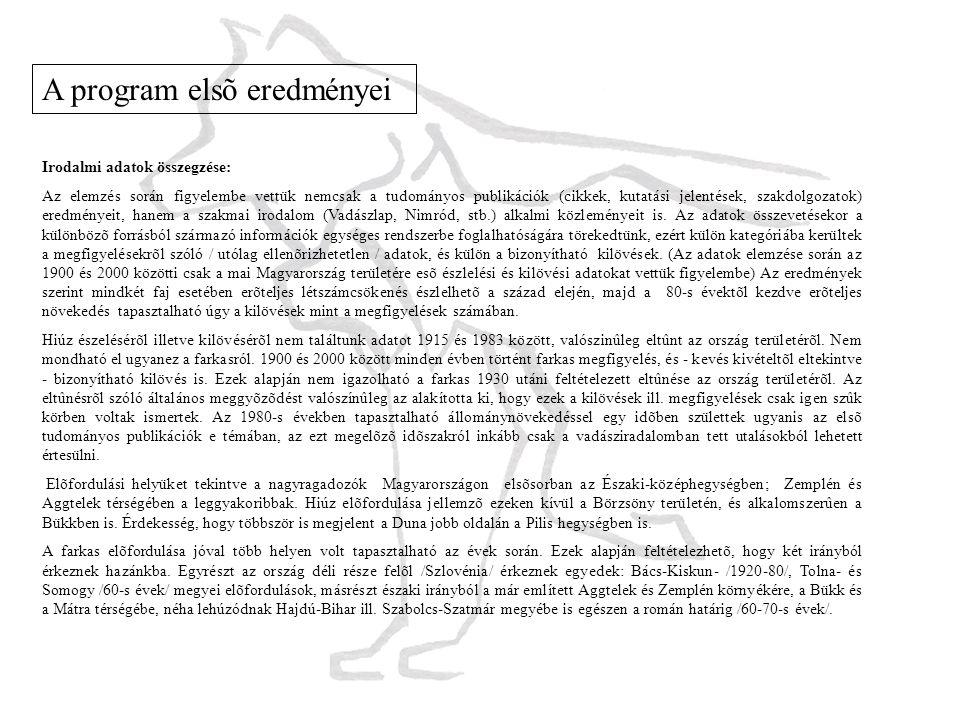 A program elsõ eredményei Irodalmi adatok összegzése: Az elemzés során figyelembe vettük nemcsak a tudományos publikációk (cikkek, kutatási jelentések