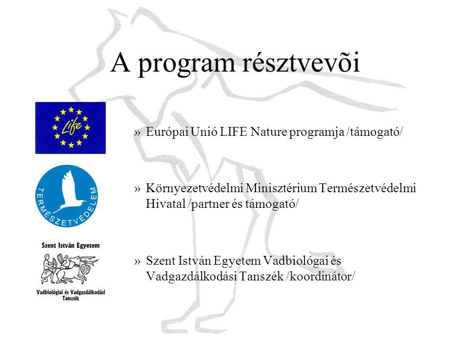 A program résztvevõi »Európai Unió LIFE Nature programja /támogató/ »Környezetvédelmi Minisztérium Természetvédelmi Hivatal /partner és támogató/ »Sze