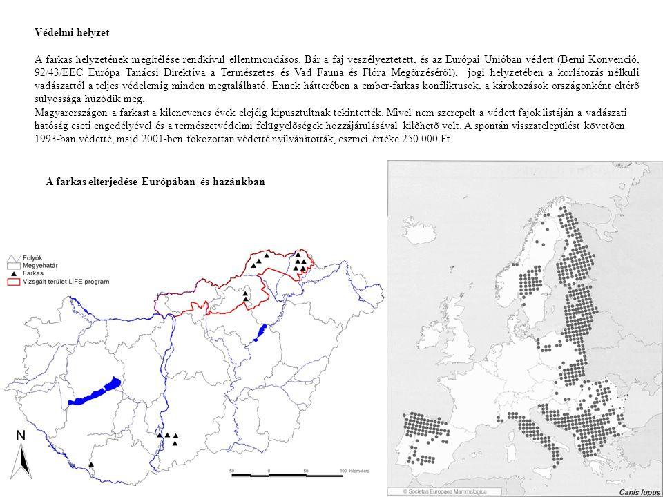 Farkas és hiúz észlelések száma Magyarországon 1870-2000 között