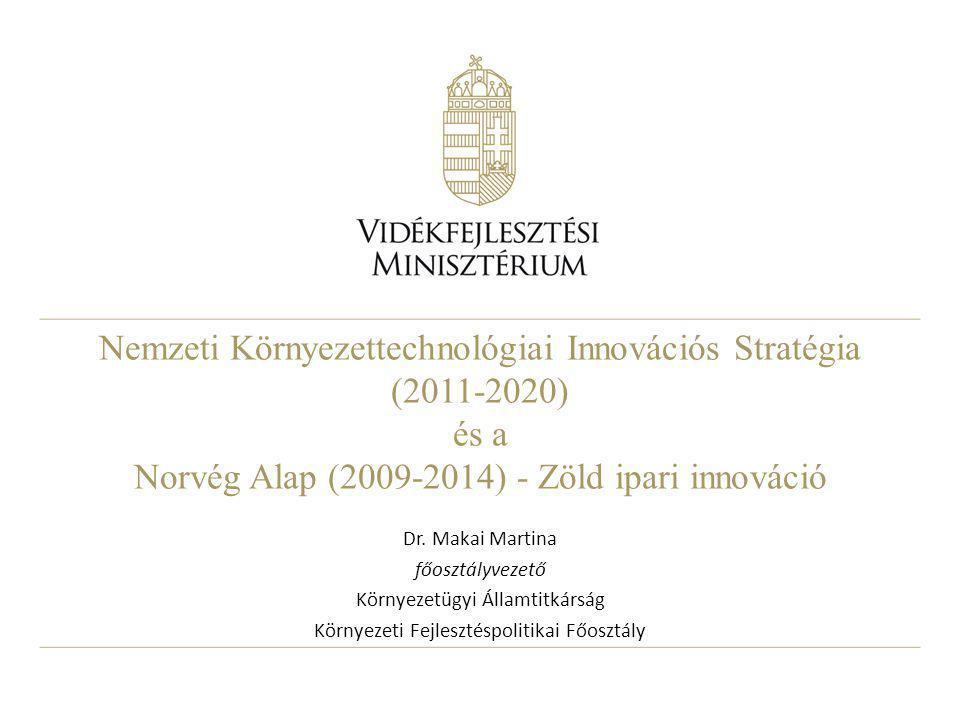 Nemzeti Környezettechnológiai Innovációs Stratégia (2011-2020) és a Norvég Alap (2009-2014) - Zöld ipari innováció Dr. Makai Martina főosztályvezető K