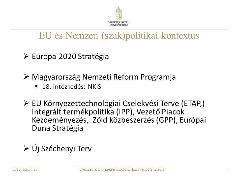 3 EU és Nemzeti (szak)politikai kontextus  Európa 2020 Stratégia  Magyarország Nemzeti Reform Programja  18. intézkedés: NKIS  EU Környezettechnol