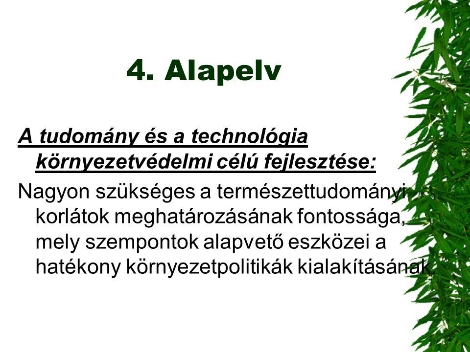 4. Alapelv A tudomány és a technológia környezetvédelmi célú fejlesztése: Nagyon szükséges a természettudományi korlátok meghatározásának fontossága,