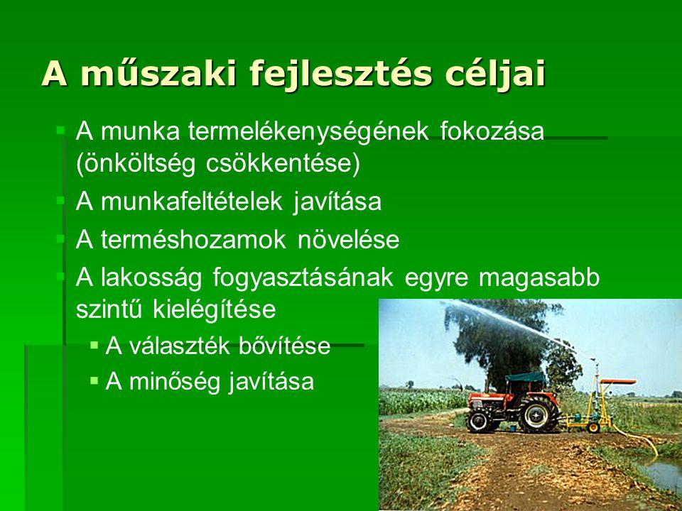 A műszaki fejlesztés céljai   A munka termelékenységének fokozása (önköltség csökkentése)   A munkafeltételek javítása   A terméshozamok növelése   A lakosság fogyasztásának egyre magasabb szintű kielégítése   A választék bővítése   A minőség javítása