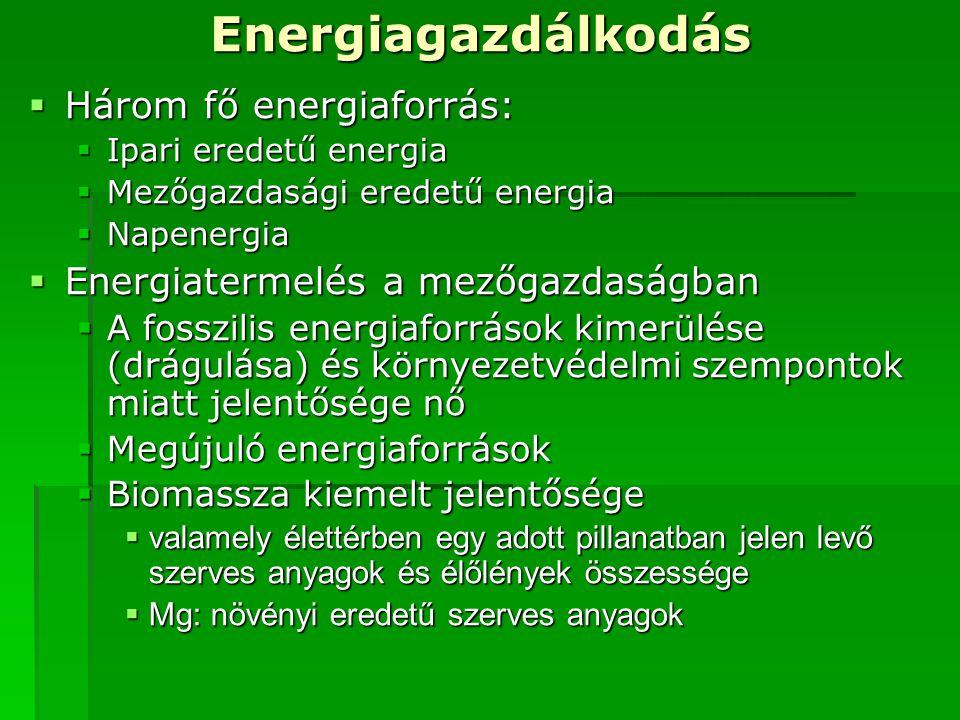 Energiagazdálkodás  Három fő energiaforrás:  Ipari eredetű energia  Mezőgazdasági eredetű energia  Napenergia  Energiatermelés a mezőgazdaságban  A fosszilis energiaforrások kimerülése (drágulása) és környezetvédelmi szempontok miatt jelentősége nő  Megújuló energiaforrások  Biomassza kiemelt jelentősége  valamely élettérben egy adott pillanatban jelen levő szerves anyagok és élőlények összessége  Mg: növényi eredetű szerves anyagok
