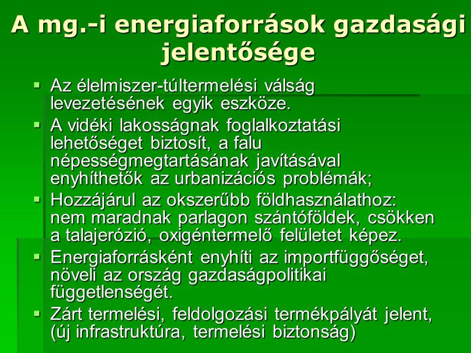 A mg.-i energiaforrások gazdasági jelentősége  Az élelmiszer-túltermelési válság levezetésének egyik eszköze.