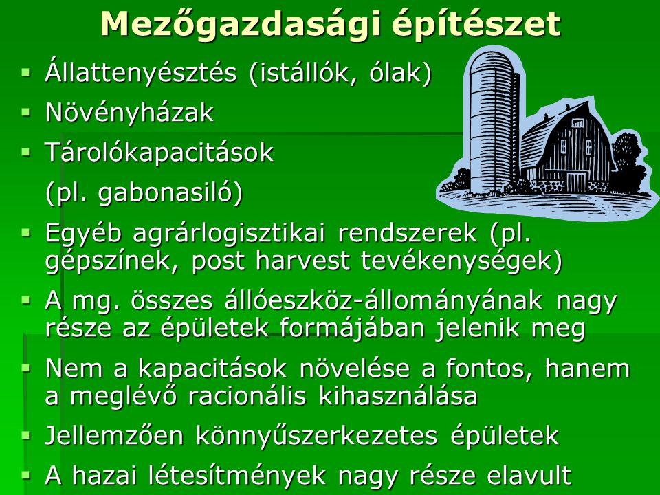 Mezőgazdasági építészet  Állattenyésztés (istállók, ólak)  Növényházak  Tárolókapacitások (pl.