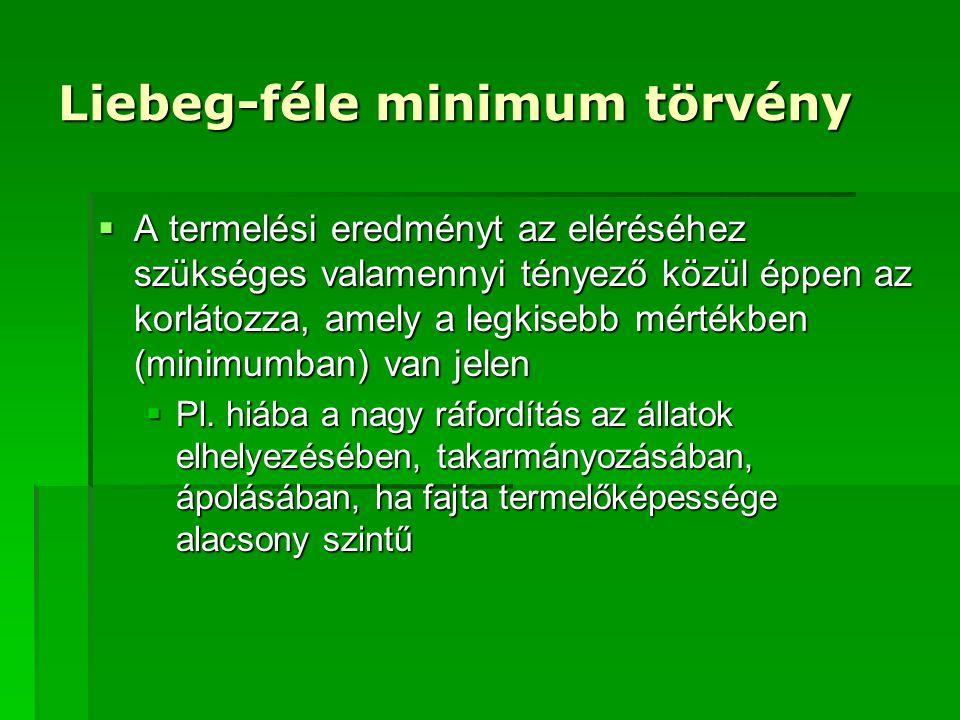 Liebeg-féle minimum törvény  A termelési eredményt az eléréséhez szükséges valamennyi tényező közül éppen az korlátozza, amely a legkisebb mértékben (minimumban) van jelen  Pl.