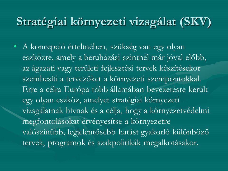 Stratégiai környezeti vizsgálat (SKV) A koncepció értelmében, szükség van egy olyan eszközre, amely a beruházási szintnél már jóval előbb, az ágazati