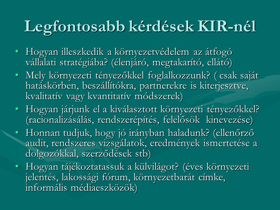 Legfontosabb kérdések KIR-nél Hogyan illeszkedik a környezetvédelem az átfogó vállalati stratégiába? (élenjáró, megtakarító, ellátó)Hogyan illeszkedik