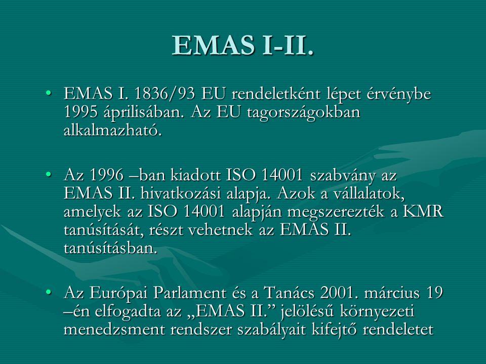 EMAS I-II. EMAS I. 1836/93 EU rendeletként lépet érvénybe 1995 áprilisában. Az EU tagországokban alkalmazható.EMAS I. 1836/93 EU rendeletként lépet ér