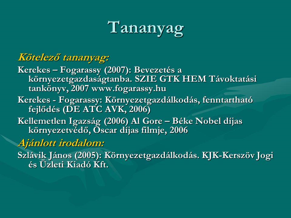 Tananyag Kötelező tananyag: Kerekes – Fogarassy (2007): Bevezetés a környezetgazdaságtanba. SZIE GTK HEM Távoktatási tankönyv, 2007 www.fogarassy.hu K