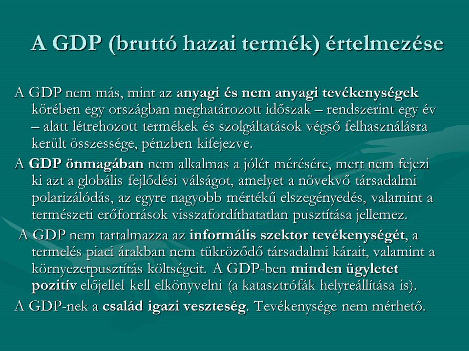 A GDP (bruttó hazai termék) értelmezése A GDP nem más, mint az anyagi és nem anyagi tevékenységek körében egy országban meghatározott időszak – rendsz