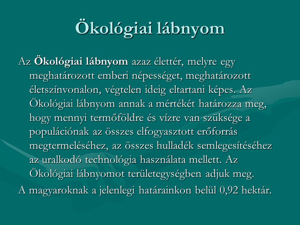 Ökológiai lábnyom Az Ökológiai lábnyom azaz élettér, melyre egy meghatározott emberi népességet, meghatározott életszínvonalon, végtelen ideig eltarta