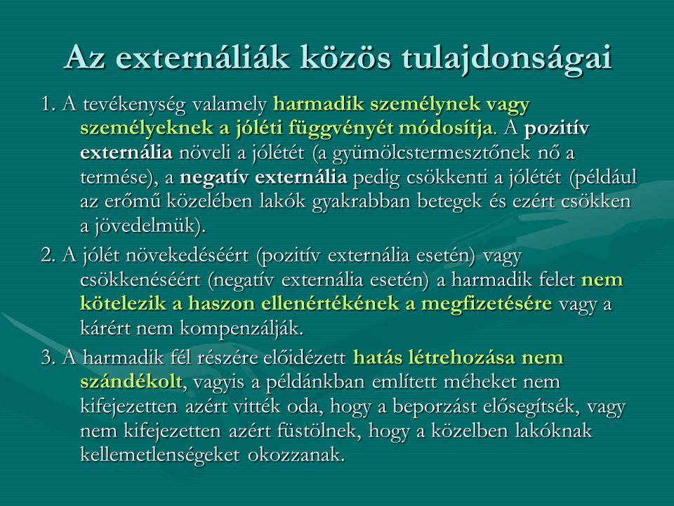 Az externáliák közös tulajdonságai 1. A tevékenység valamely harmadik személynek vagy személyeknek a jóléti függvényét módosítja. A pozitív externália