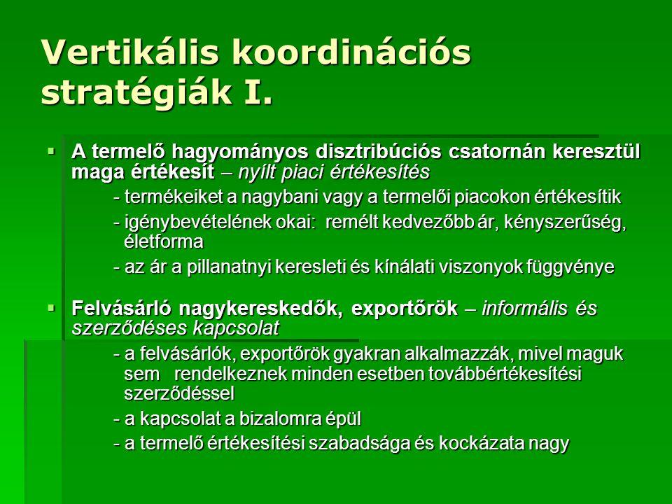 Vertikális koordinációs stratégiák II.