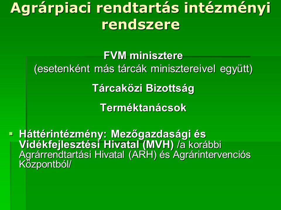 Mezőgazdasági és Vidékfejlesztési Hivatal  Feladatkörök  Piaci intézkedések (exporttámogatások, intervenció, belpiaci intézkedések, stb.)  Közvetlen jövedelem támogatások  Vidékfejlesztési pályázatok  EMOGA Orientációs részlegéből  EMOGA Garancia részlegéből (kísérő intézkedések, pl.: agrár- környezetvédelmi programok)  Halászati intézkedések