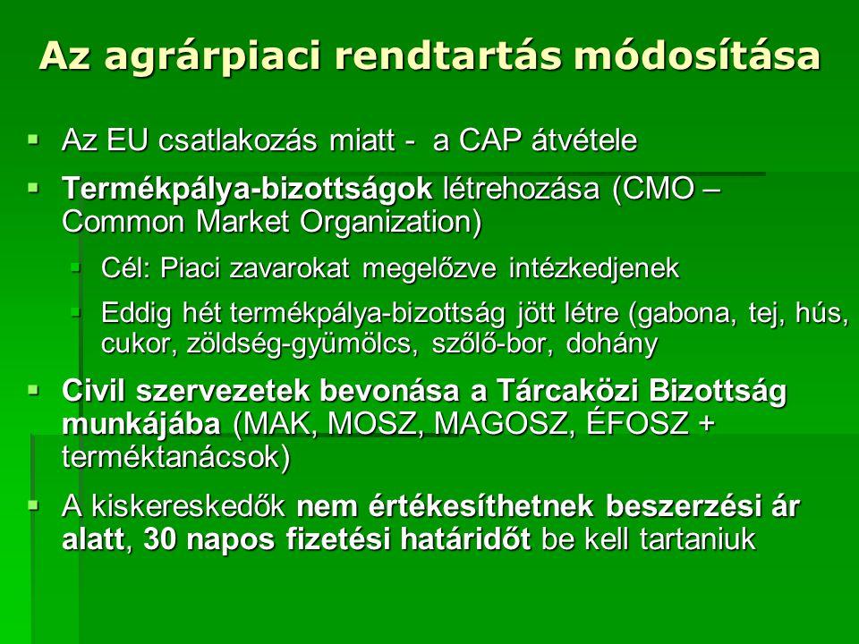 Termékpálya Bizottságok feladatai  Miniszter felügyelete alatt működő piaci információs rendszerből származó információk alapján a piaci helyzet értékelése  Termelési statisztikák elemzése, termésbecslés, mérlegkészítés, előrejelzés  Javaslattétel jogszabály alkotására és módosítására  Termékpálya-szabályozás hatásainak értékelése  EU tagsági viszonyból eredő döntés-előkészítő operatív egyeztetés