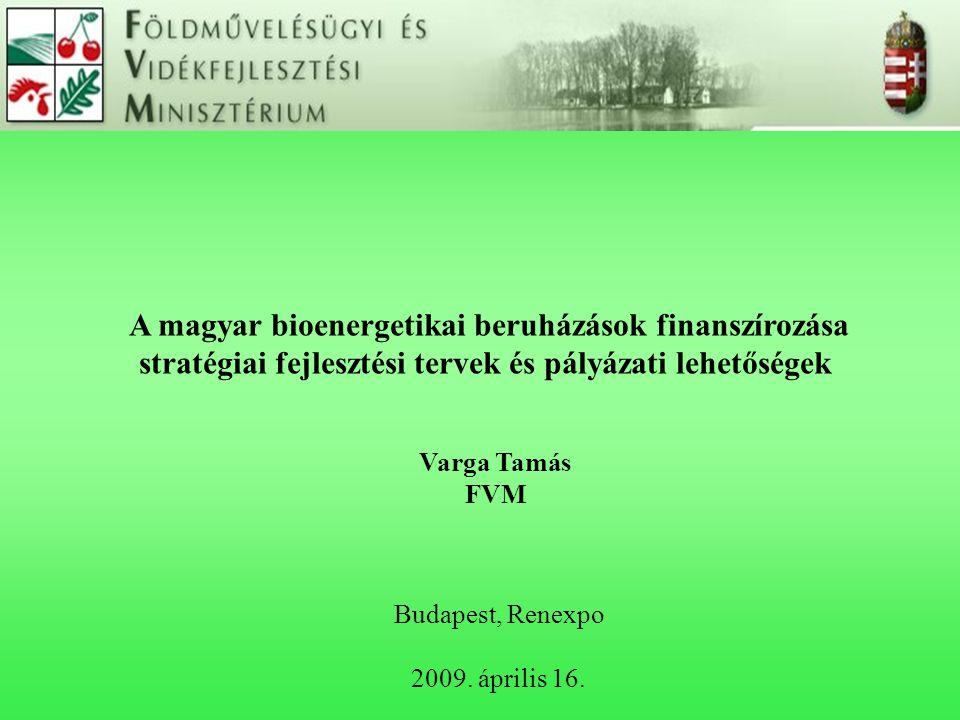 A magyar bioenergetikai beruházások finanszírozása stratégiai fejlesztési tervek és pályázati lehetőségek Budapest, Renexpo 2009. április 16. Varga Ta