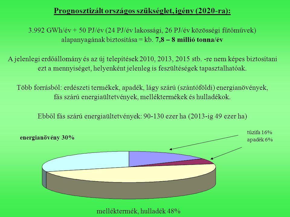 tűzifa 16% apadék 6% melléktermék, hulladék 48% energianövény 30% Prognosztizált országos szükséglet, igény (2020-ra): 3.992 GWh/év + 50 PJ/év (24 PJ/