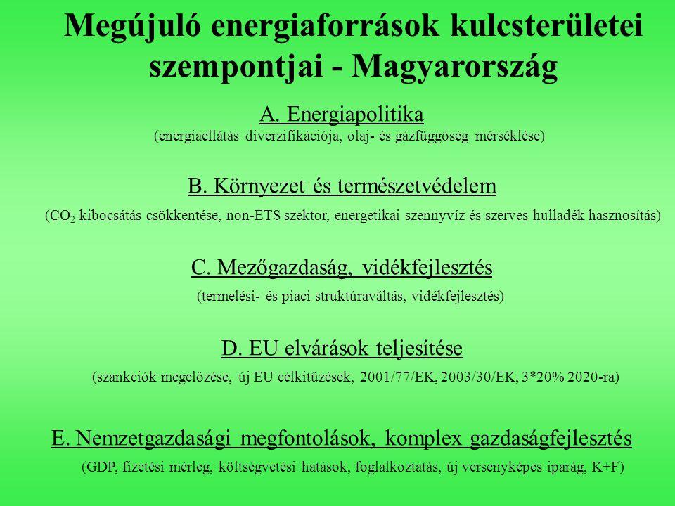 Megújuló energiaforrások kulcsterületei szempontjai - Magyarország A. Energiapolitika (energiaellátás diverzifikációja, olaj- és gázfüggőség mérséklés