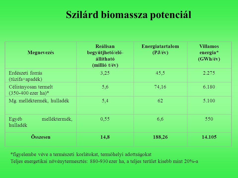 Megnevezés Reálisan begyűtjhető/elő- állítható (millió t/év) Energiatartalom (PJ/év) Villamos energia* (GWh/év) Erdészeti forrás (tűzifa+apadék) 3,254