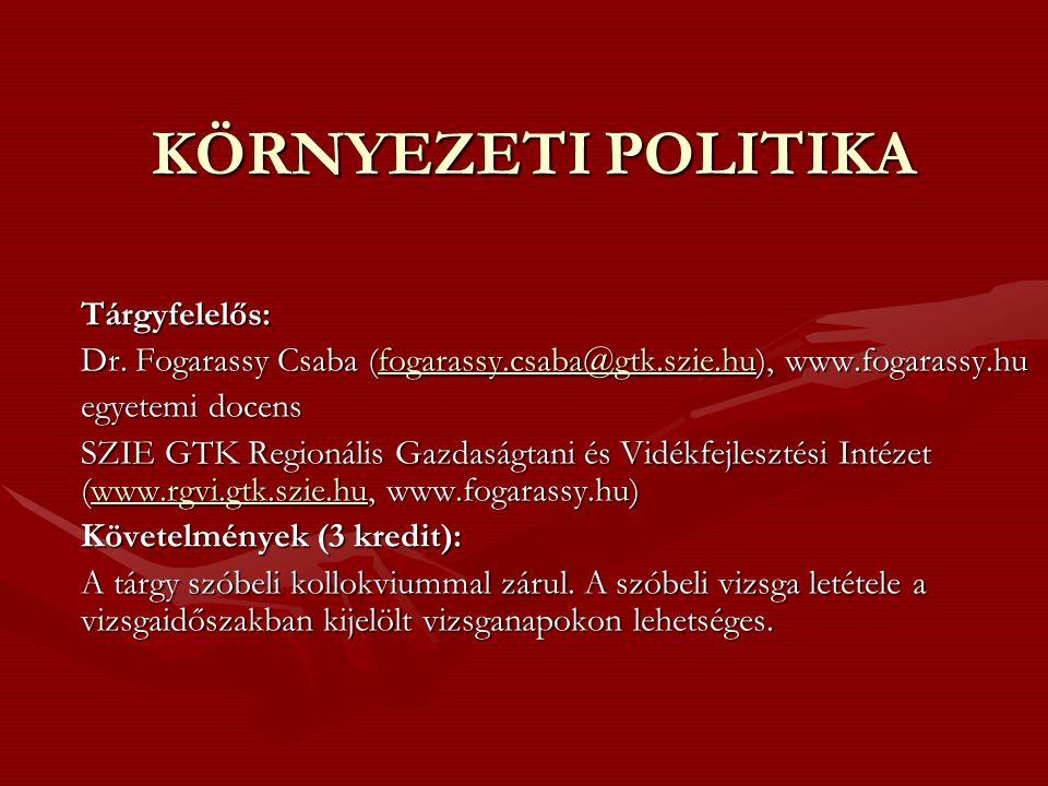 KÖRNYEZETI POLITIKA Tárgyfelelős: Dr. Fogarassy Csaba (fogarassy.csaba@gtk.szie.hu), www.fogarassy.hu fogarassy.csaba@gtk.szie.hu egyetemi docens SZIE