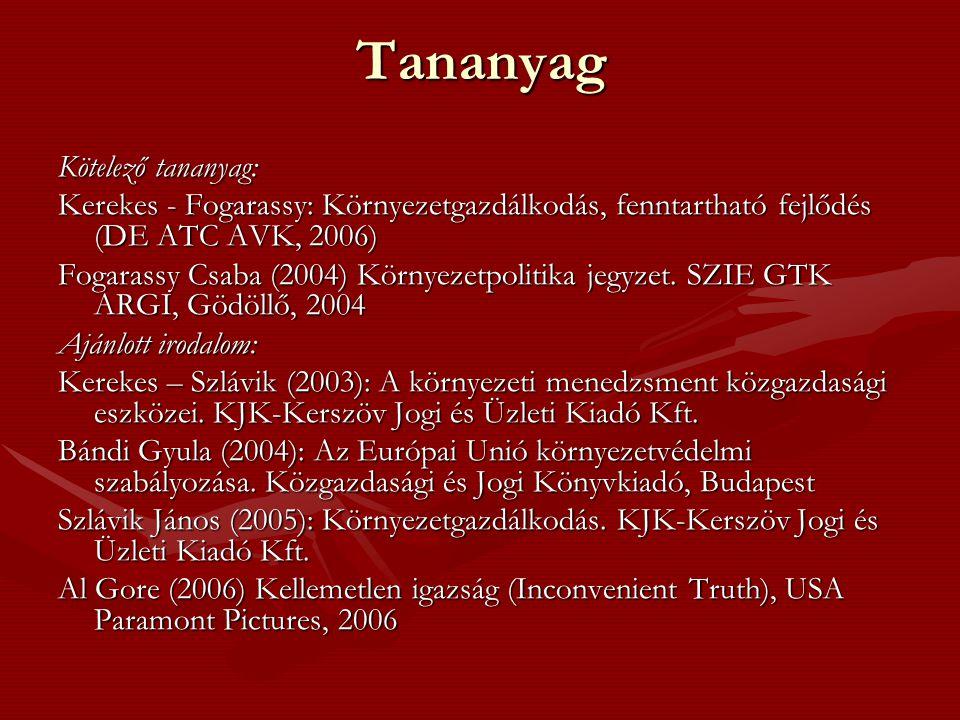 Tananyag Kötelező tananyag: Kerekes - Fogarassy: Környezetgazdálkodás, fenntartható fejlődés (DE ATC AVK, 2006) Fogarassy Csaba (2004) Környezetpolitika jegyzet.