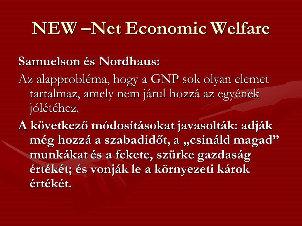 NEW –Net Economic Welfare Samuelson és Nordhaus: Az alapprobléma, hogy a GNP sok olyan elemet tartalmaz, amely nem járul hozzá az egyének jólétéhez. A