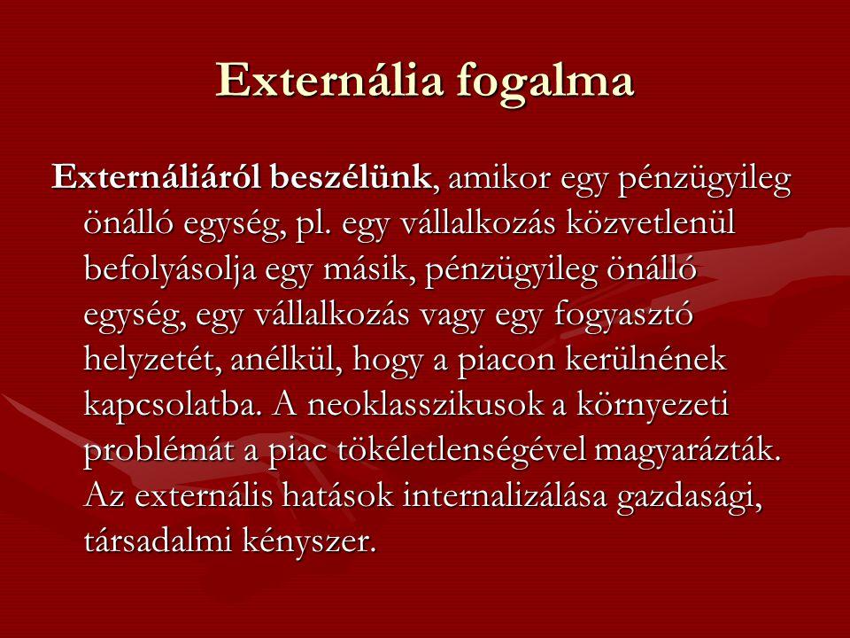 Externália fogalma Externáliáról beszélünk, amikor egy pénzügyileg önálló egység, pl.