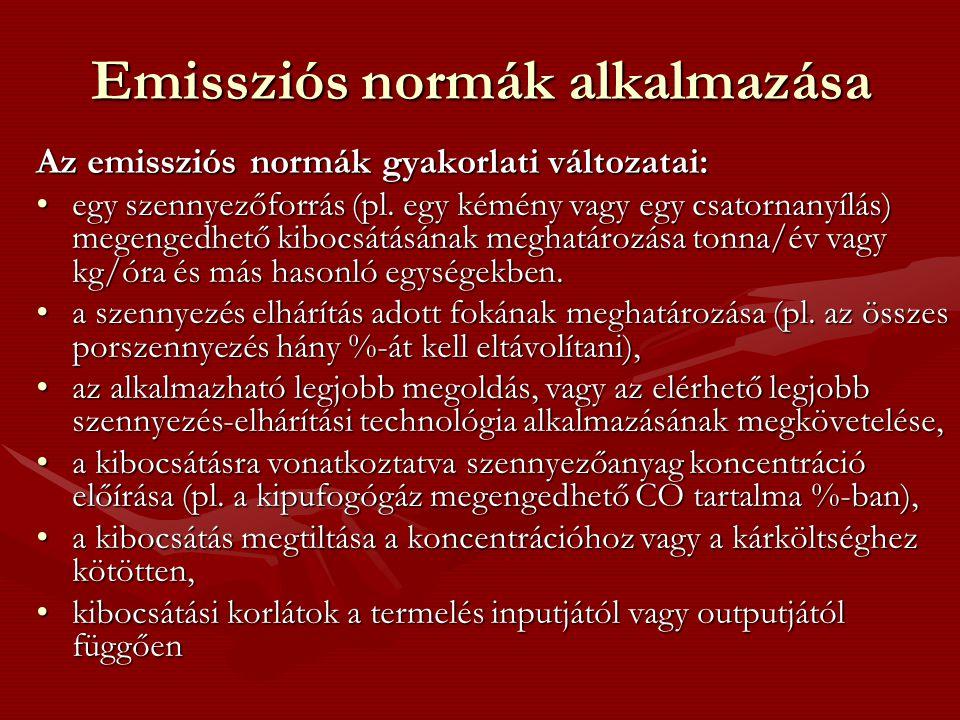 Emissziós normák alkalmazása Az emissziós normák gyakorlati változatai: egy szennyezőforrás (pl. egy kémény vagy egy csatornanyílás) megengedhető kibo
