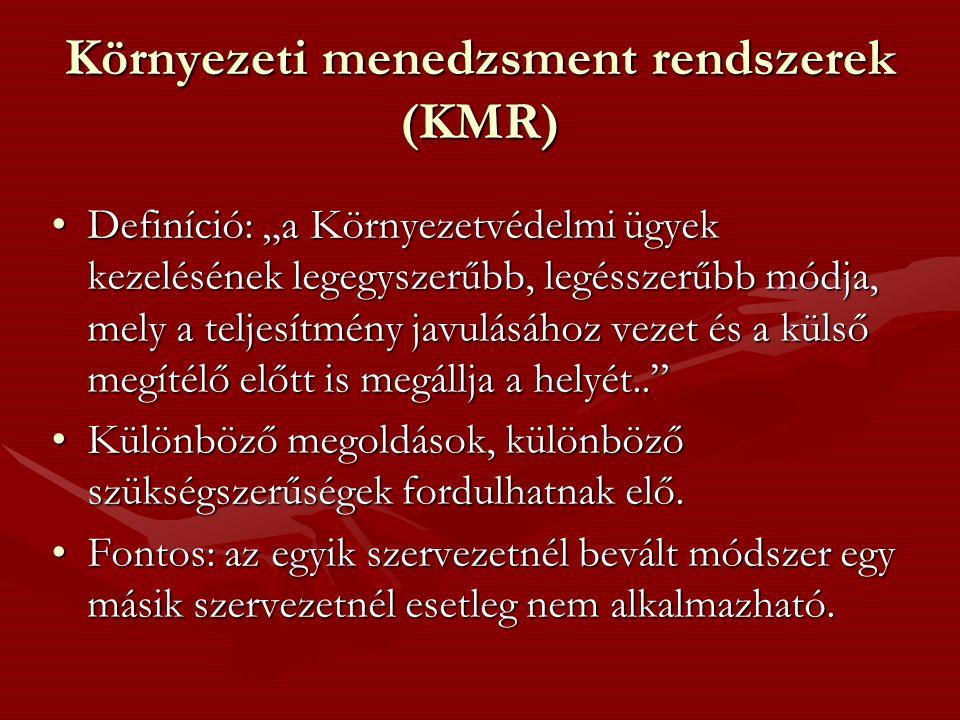 """Környezeti menedzsment rendszerek (KMR) Definíció: """"a Környezetvédelmi ügyek kezelésének legegyszerűbb, legésszerűbb módja, mely a teljesítmény javulá"""