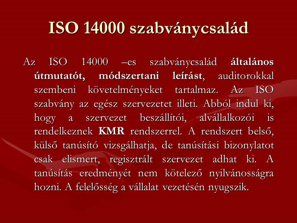 ISO 14000 szabványcsalád Az ISO 14000 –es szabványcsalád általános útmutatót, módszertani leírást, auditorokkal szembeni követelményeket tartalmaz. Az